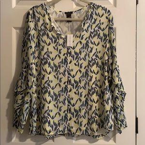 Ann Taylor Lemon Print Long Sleeve Chiffon Blouse